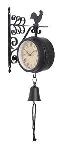 Benzara 35412 Metal Outdoor Double Clock, 10 by 22-Inch