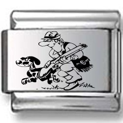 Cartoon Hunter and Dog Laser Italian Charm