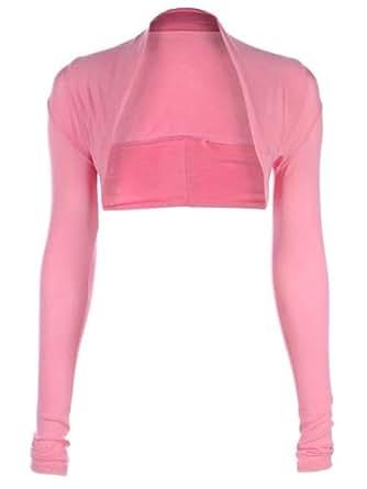 Womens Viscose Cropped Plain Shrugs Ladies Shrug Size UK 8 Baby Pink