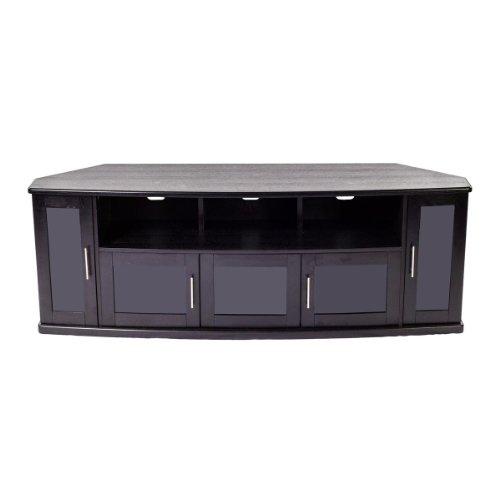 Plateau Newport80B Corner Wood Tv Stand With Black Oak Finish, 80-Inch