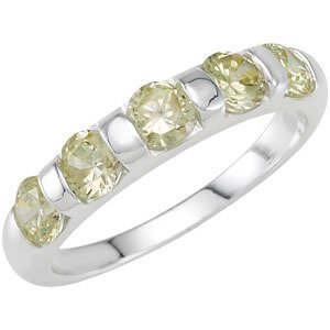 Sterling Silver Stackable Peridot Colored CZ Ring: Size 6