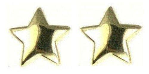 Ladies' Plain Plain Star Stud Earrings, 9ct Yellow Gold, Model 9-ER414