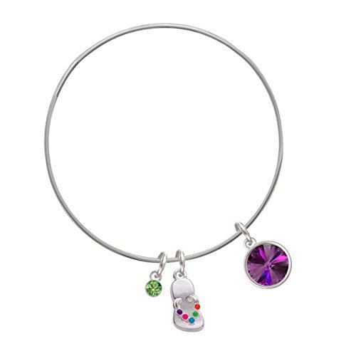 12Mm Crystal Rivoli - Purple Lime Green Crystal And Flip Flop Charm Bangle Bracelet