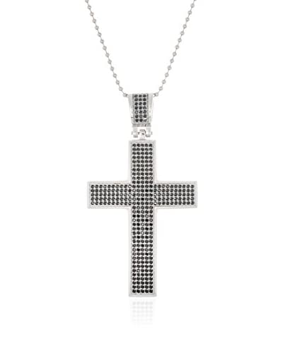 1913 Stainless Steel & Black CZ Cross Pendant Necklace