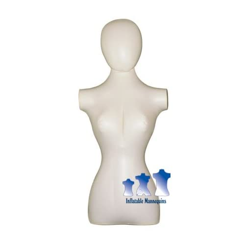 Inflatable Mannequin, Female Torso with Head, Ivory