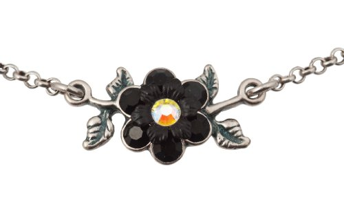 Michal Negrin Silver Coated Flower Pendant with Vintage Leaves, Black and White Swarovski Crystals