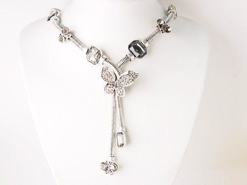 Silvertone Dangling Crystal Rhinestone Butterfly Tassel Fashion Jewelry Necklace