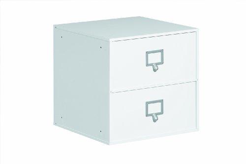 30601630 Regal Steckregal Würfelregal Modulregal Regalsystem Büroregal weiß 2 Schubladen