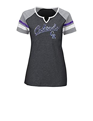MLB Colorado Rockies Women's The Replay Fashion Top, X-Large, Charcoal Heather/Stone Gray/White
