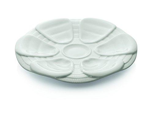 Assiette à huîtres en porcelaine Blanc-pour 6huîtres (Diamètre?: Ø 25cm)