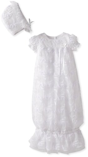 Biscotti Baby-Girls Newborn Cherished Heirloom Embroidered Netting Gown And Bonnet, White, 3-9 Months