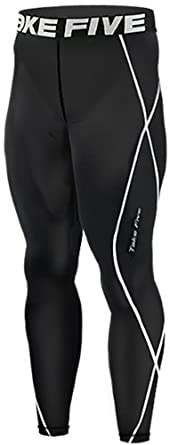 New 011 Skin Tights Compression Leggings Base Layer Black Running Pants Mens (S)