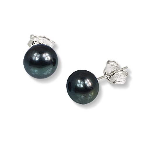 SilberDream black Freshwater Cultured Pearl Stud Earrings, 925 Sterling Silver SDO107S