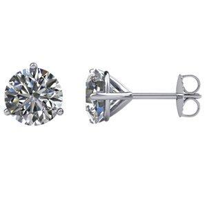 Genuine IceCarats Designer Jewelry Gift 14K White Gold Stud Earrings With Backs. Stud Earrings With Backs In 14K White Gold