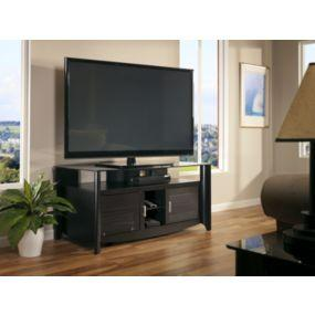 Aero Collection 60 inch TV Stand with Glass Top Shelf in Classic Black Finish