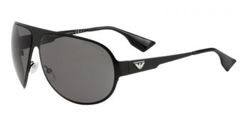 Emporio Armani Men's 9623 Shiny Black Frame/Grey Lens Metal Sunglasses