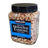 Cos15 Kirkland Signature Whole Fancy Unsalted Cashews Nuts Premium Quality - 2.5 Lb ( 1.13 Kg )
