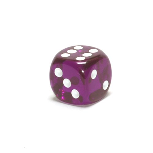 Translucent 16mm d6 Purple/white Pipped Dice