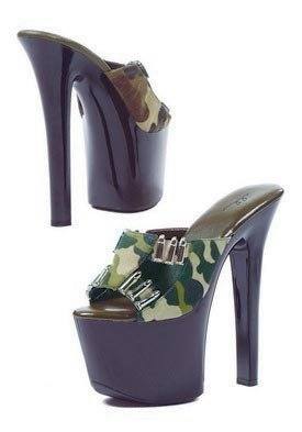 7 inch Heel Sandal Women's Size Shoe With Camo Fabric and Faux Bullet D?cor