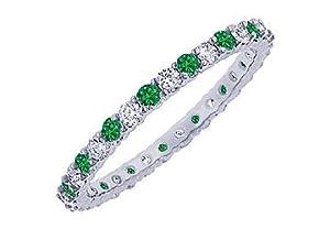 Emerald and Diamond Eternity Bangle : Platinum - 10.00 CT TGW
