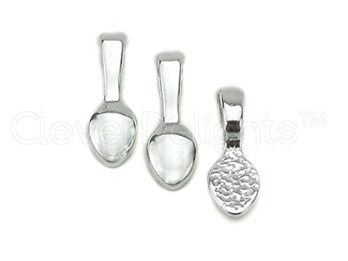 100 CleverDelights Teardrop Bails - Shiny Silver Color - 16x5mm - Small Glue On Bails - For Scrabble and Glass Pendants - 5/8 x 1/4 inch 16mm x 5mm