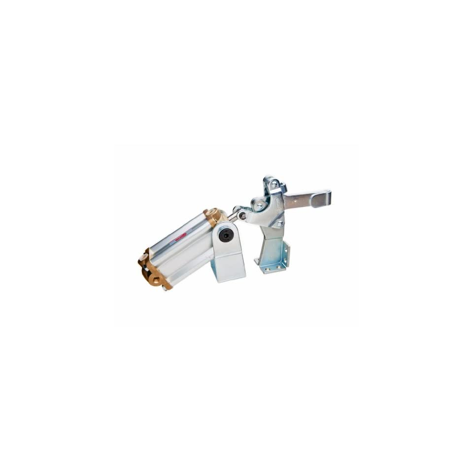 JW Winco Series GN 862 Steel Pneumatic Toggle Clamp with Vertical Mounting Base and Clasp, Type EPV3, Metric Size, Solid Bar, Clamp Size 200, 2200 Newton Holding Capacity