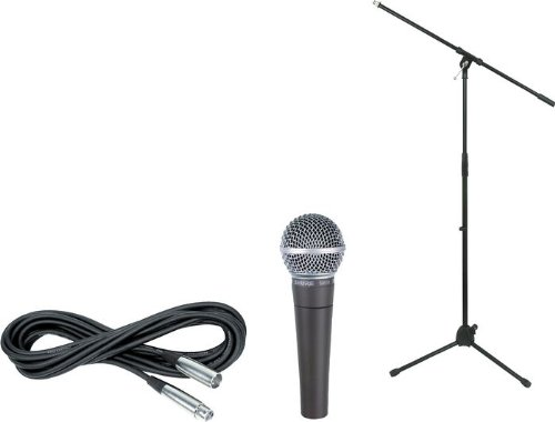 Shure SM58-LC Vocal Microphone Bundle with 20-Foot XLR Cable and Boom Stand