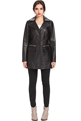 """BGSD Women's """"Caroline"""" Missy & Plus Size New Zealand Lambskin Leather Walking Coat - L"""