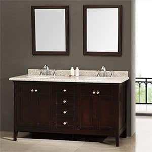 New Waves Reni 60 Double Sink Vanity Silver Grey Granite Countertop Bathroo