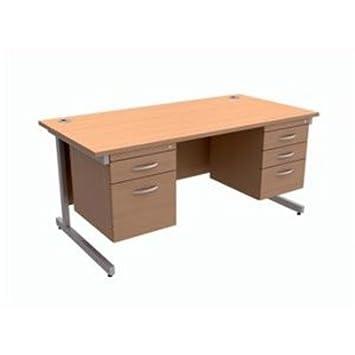 416468–Trexus contract scrivania rettangolare con doppio piedistallo argento gambe W1600x D800x H725MM beech