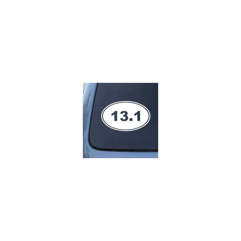13.1 10K RUNNING EURO OVAL   Vinyl Car Decal Sticker #1764  Vinyl Color White