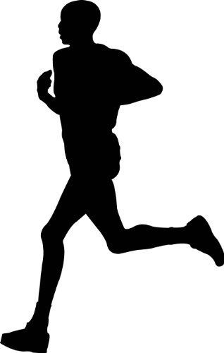 Sports Silhouette Wall Decals - Man Running Runner Silhouette - 12 Inch Removable Graphic front-961272
