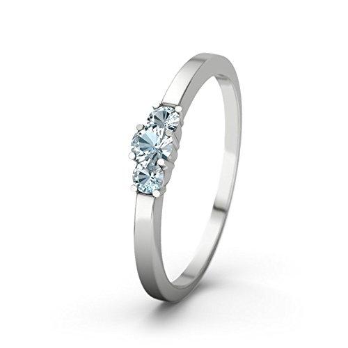 21DIAMONDS Shannon 21PREMIUM Aquamarine Brilliant Cut 9Ct White Gold Women's Ring Engagement Rings