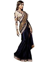 Arabella Couture Blue & Cream Saree