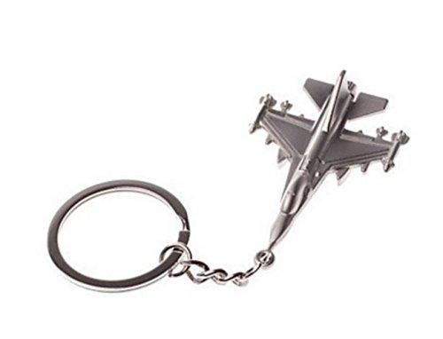 Portachiavi aviazione Aereo caccia, in acciaio cromato, colore: argento.