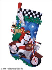 Bucilla Cruising Santa Stocking Felt Appliqué Kit-18