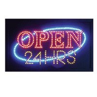 Led Open 24 Hours Sign, 12X20Inch