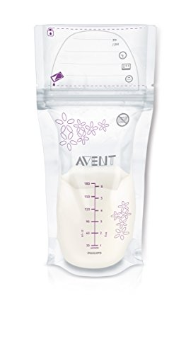 Philips AVENT Breast Milk Storage Bags, Clear, 6 Ounce, 50 Pack - 1