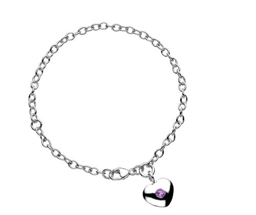 Silver Child's Birth Charm Synthetic Pink Tourmaline