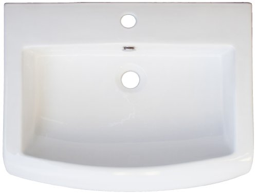 American Imaginations 152 23-Inch by 18-Inch White Ceramic Top with Single Hole