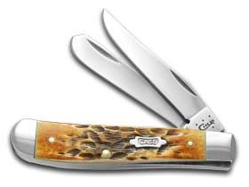 Case Cutlery 27640 Mini Trapper Pocket Knife with Stainless Steel Blades, Burnt Amber Bone