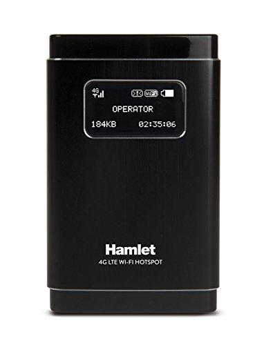 Hamlet HHTSPT4GLTE Router 4G LTE, Batteria a Litio da 2500 mAh, SD Reader, 100Mbps /50Mbps, Nero/Antracite