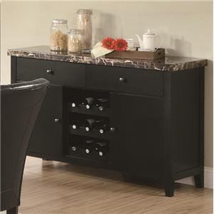 Server Sideboard Marble Top With Wine Rack In Dark Cappuccino Finish front-361630