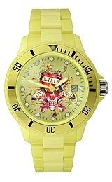 Ed Hardy VIP Love Kills Slowly Yellow Dial Unisex Watch #VPYW