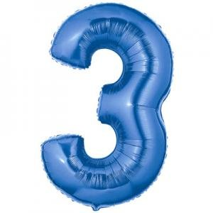 40 Inch Megaloon Blue Number 3 Balloon (Number Three Balloon compare prices)