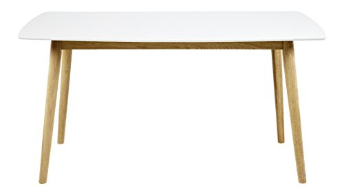 60733 Esstisch Pernille, 150 x 80 cm, Tischplatte aus Holz lackiert, weiß
