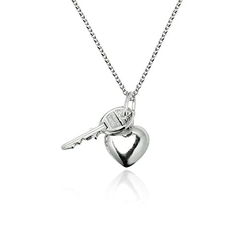 River Island Jewelry - 925 Sterling Silver Fine Fashion Key to My Heart Valentine Pendant and 18 Box (Ebay Sterling Silver compare prices)
