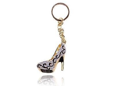 Gold Tone Flourish Lady Stilleto Heel Shoe Swarovski Crystal Rhinestone Keychain