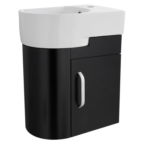 Carlton Black Bathroom Cloakroom Wall Mounted Storage Vanity Unit and One Tap Hole Basin Right
