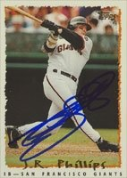 J.R. Phillips San Francisco Giants 1995 Topps Autographed Hand Signed Trading Card. by Hall of Fame Memorabilia